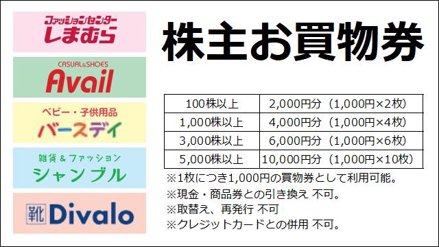 しまむら(8227)の株主優待の紹介画像