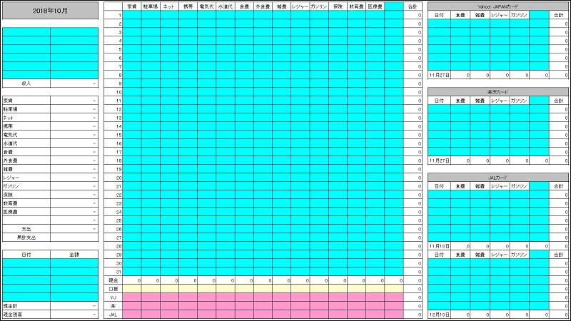 最新の自作エクセル家計簿
