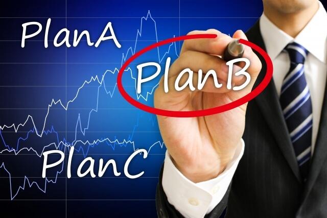 PlanBに赤丸をするビジネスマン